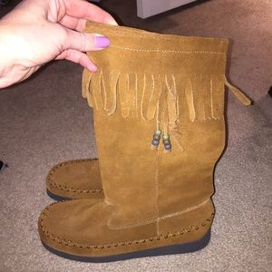 Report Brown Suede Leather Moccasin Boots NEW!